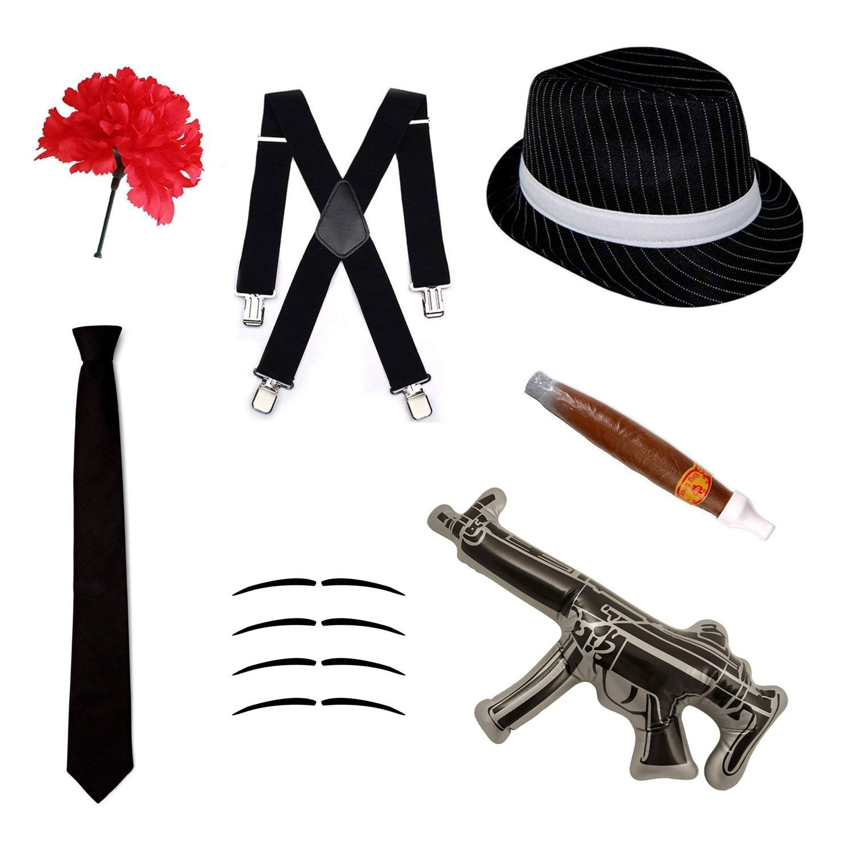 Robelli Disfraz gángster Set - Sombrero Trilby, Corbata, Tirantes ...
