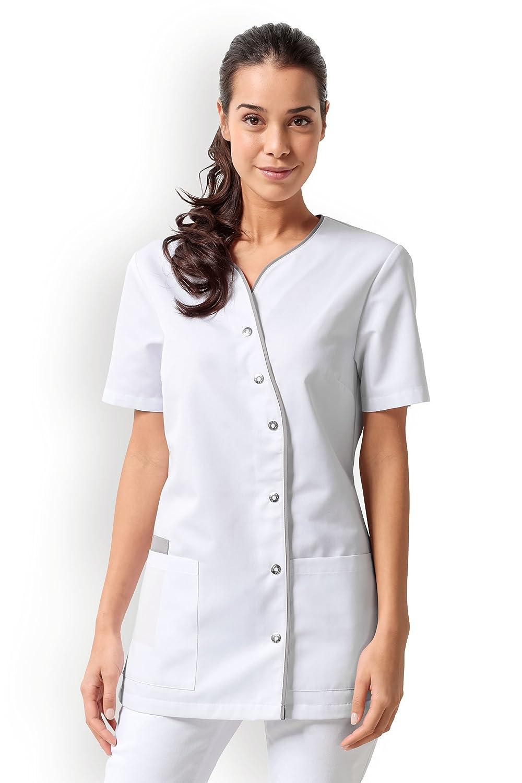 CLINIC DRESS DRESS DRESS Kasack für Damen V-Ausschnitt Weiß Grau weiß grau B01HBE2MU8 Medizin eine breite Palette von Produkten 3cff46