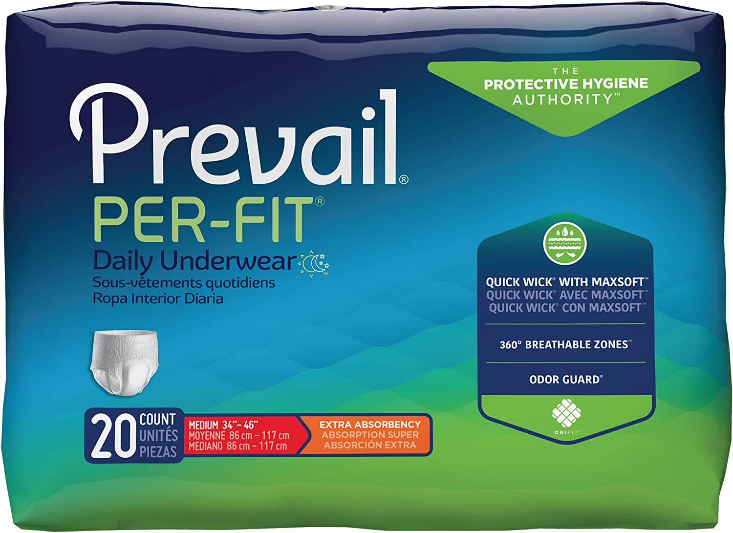 Prevail Per-Fit Protective Underwear, Extra Absorbency (Medium (80 Count))