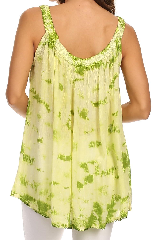 Sakkas Ashanti Embroidered Trim Picot Rayon Tie Dye Tank Top