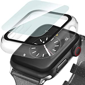 Ritastar Screen protector for Apple Watch Case 42mm Shockproof Overall Hard PC Bumper Cover with Slim Tempered Glass Protective Film Defense Edge Lightweight for iWatch Accessories Series 3 2 1,Clear