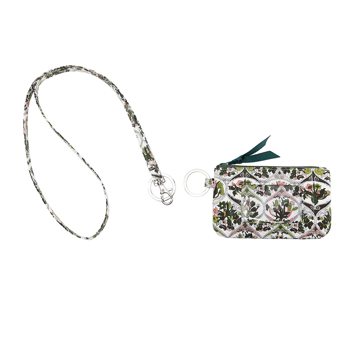 cce1aef72117 Leanoria Womens Lanyard with Wallet Zip ID Card Case Badge Holder Office  Lanyards (Green Pink Small Floral)
