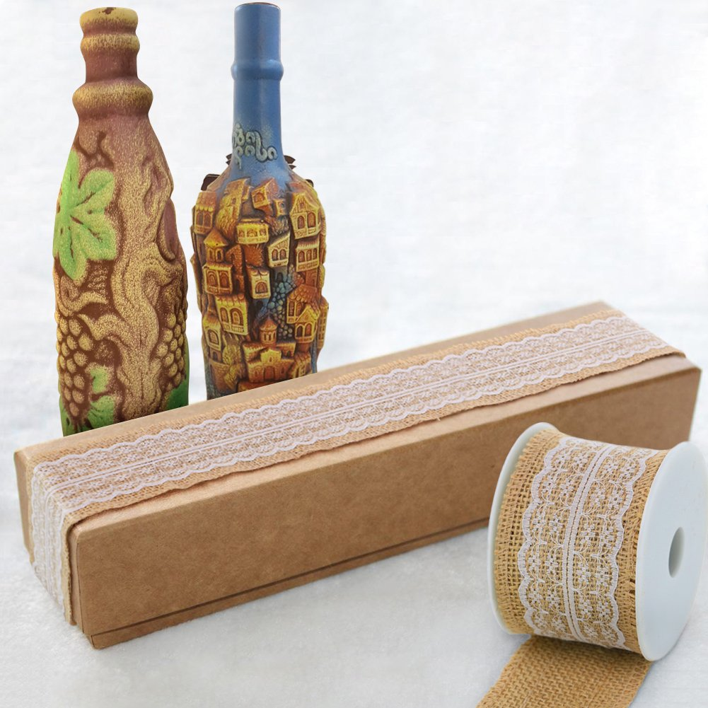 Burlap Ribbon Roll White Lace Trims Tape Natural Jute Fabric Ribbons 156 inches