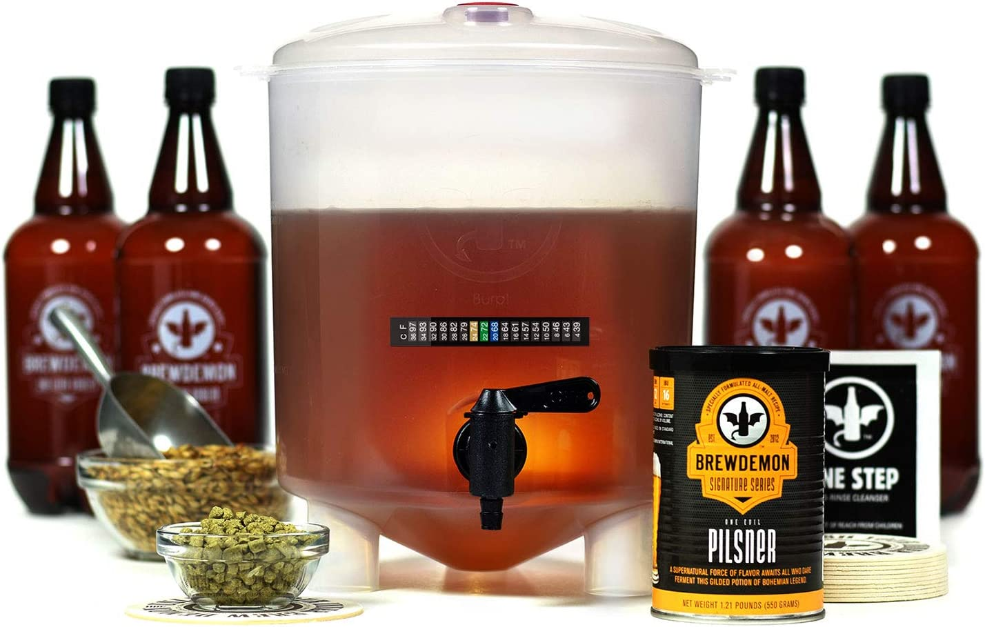 BrewDemon Craft Beer Kit with Bottles - Conical Fermenter Eliminates Sediment and Makes Great Tasting Home Made Beer - 1 gallon pilsner
