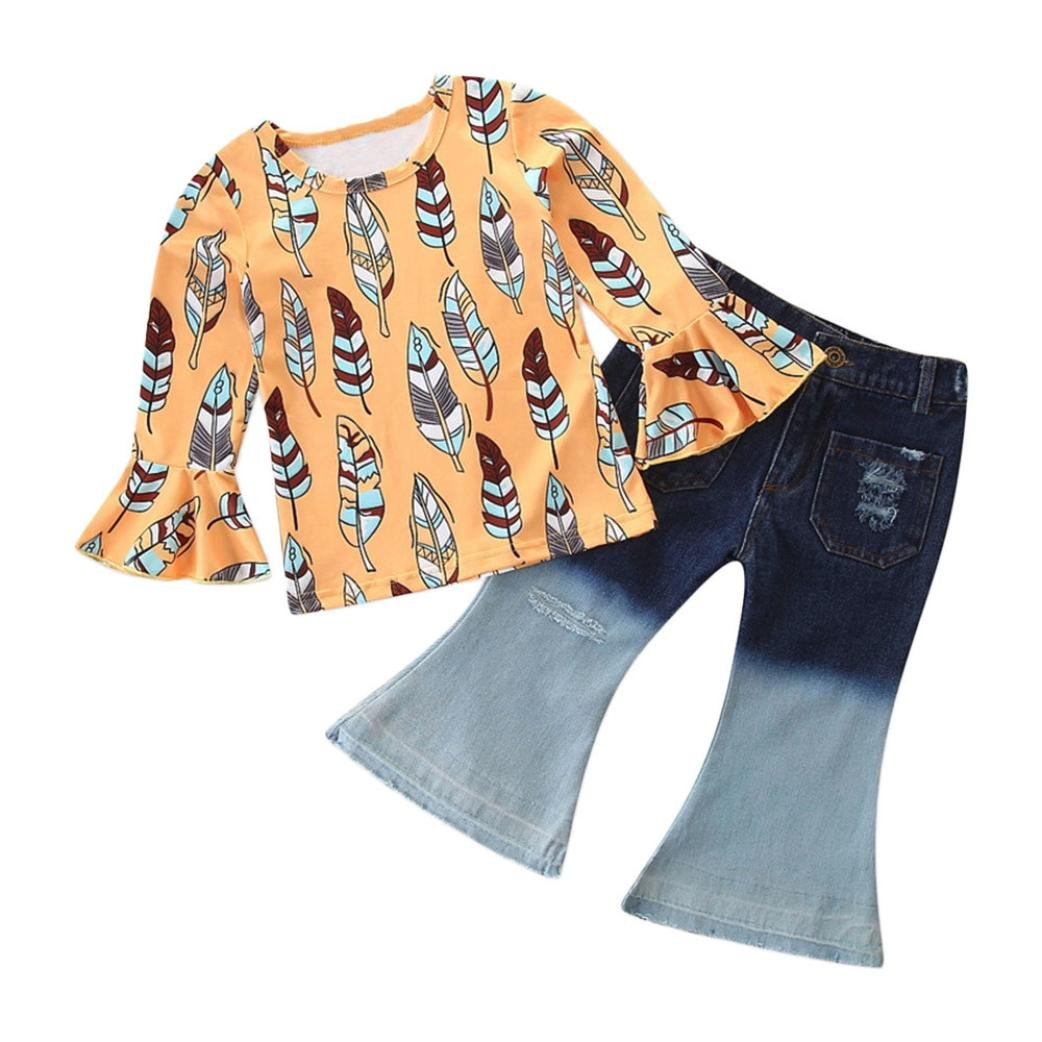 Jchen(TM) Hot Sales! Toddler Baby Kids Girls Autumn Long Sleeve Feather Print Flare Tops Denim Trousers Outfits for Your 0-4 Years Old Little Princess (Age: 12-18 Months) by Jchen Baby Sets