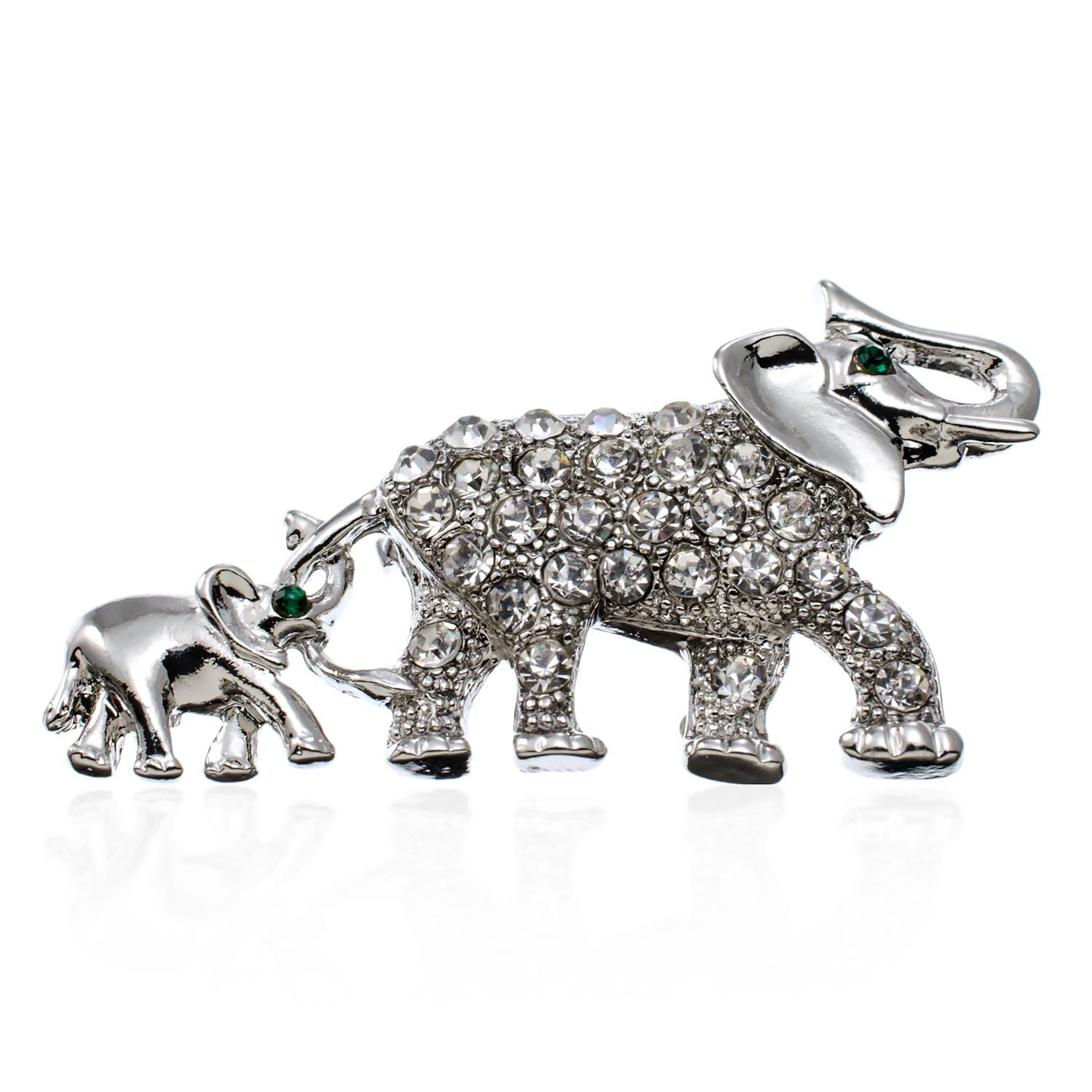 PammyJ Silvertone Elephant Mama with Baby Brooch Pin