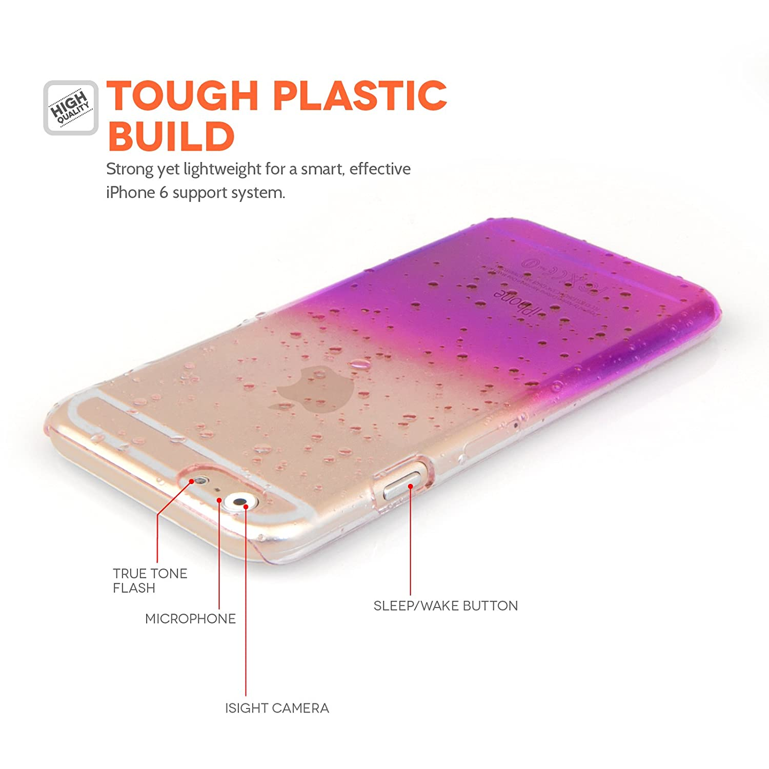 Amazon.com: Yousave Accessories Iphone 6 / 6s Raindrop Hard Case - Purple/clear: Cell Phones & Accessories