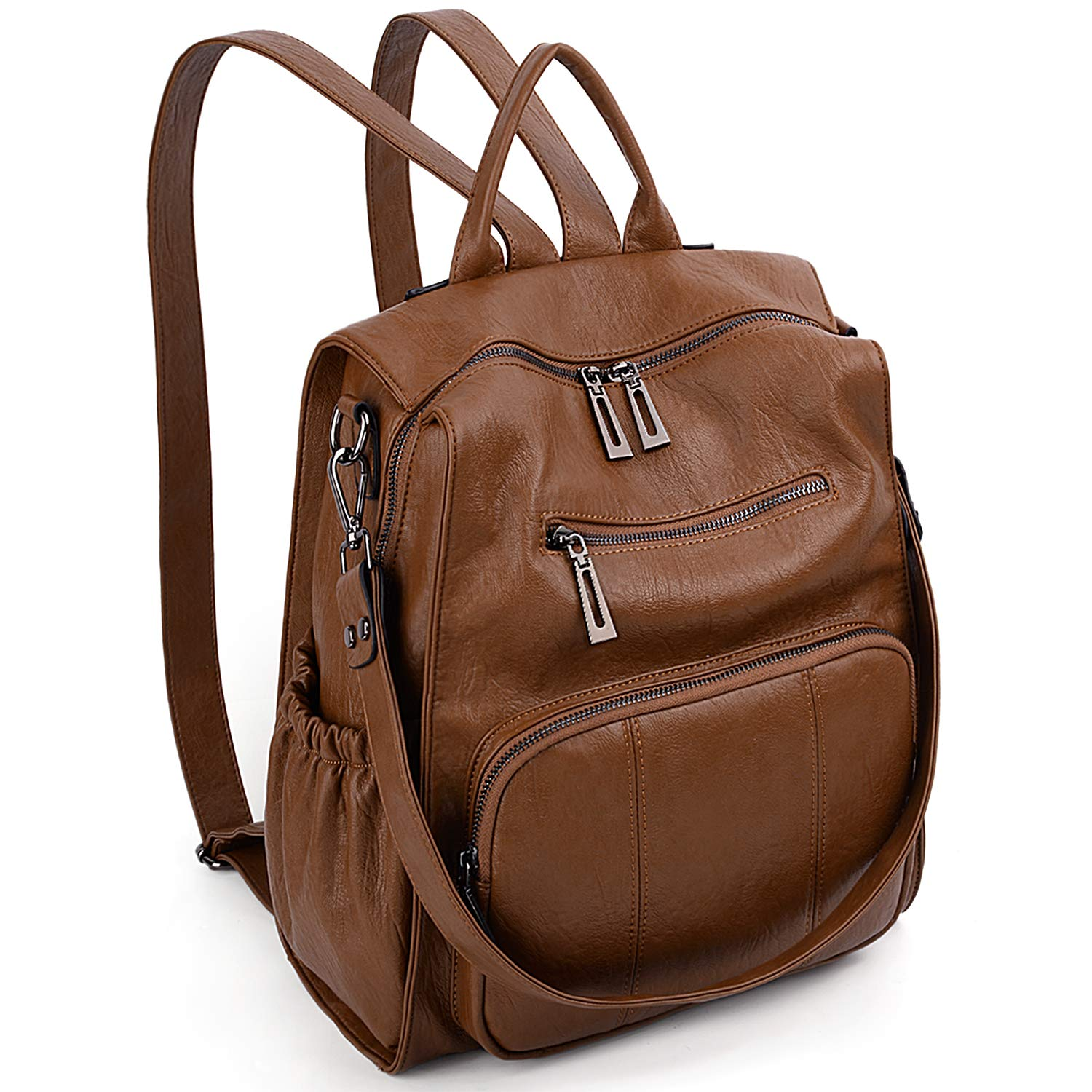 Women Backpack Purse UTO PU Leather Ladies Rucksack Convertible Single Shoulder Tote Bag A Brown