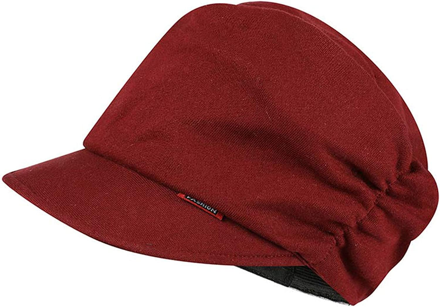 ANDERDM Womens Elastic Beret Cap Cotton Knitted Newsboy Style Hat Brown Grey Yellow Dark Red