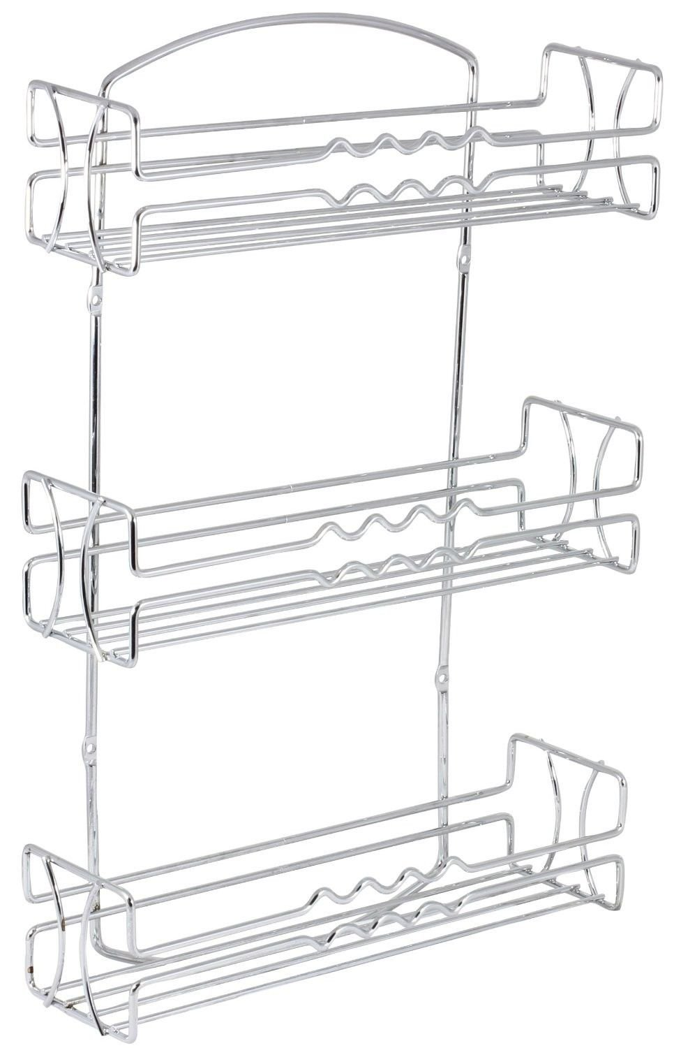 DecoBros 3 Tier Wall Mounted Spice Rack, Chrome