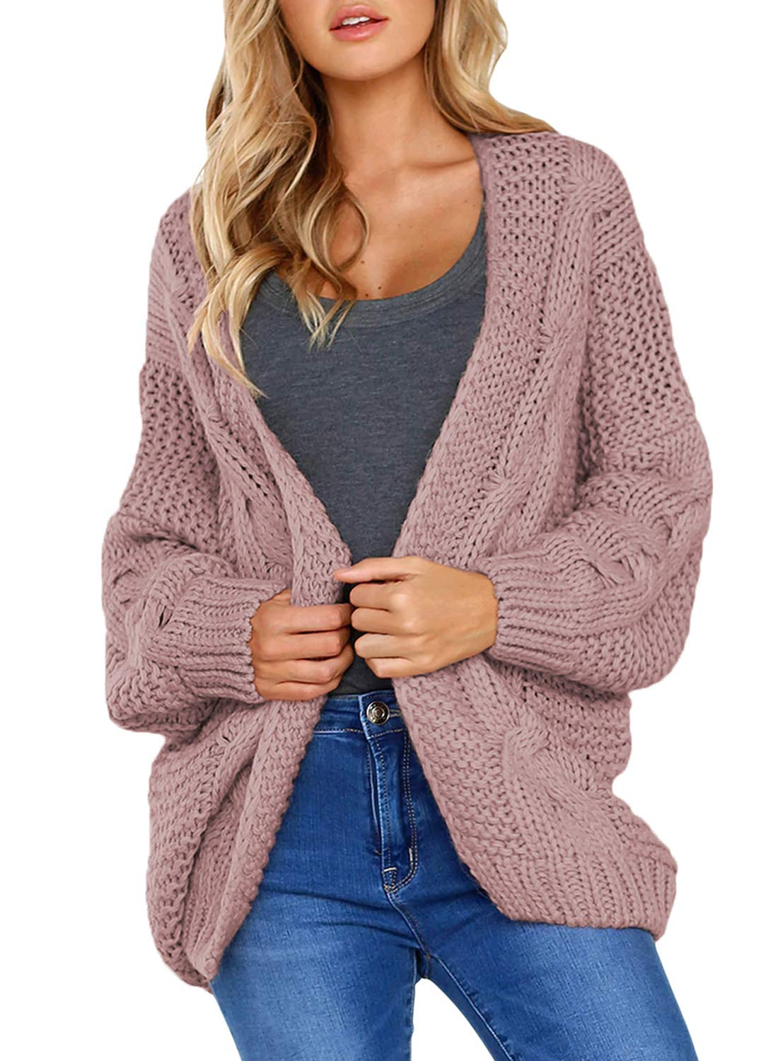 Women's Casual Long Sleeve Open Front Chunky Cable Knit Cardigan Sweaters Loose Oversized Outwear Coat Jacket Pink XL 16 18