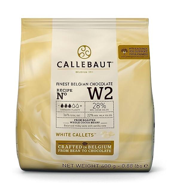El mejor chocolate blanco belga Callebaut- Bolsa de 400g