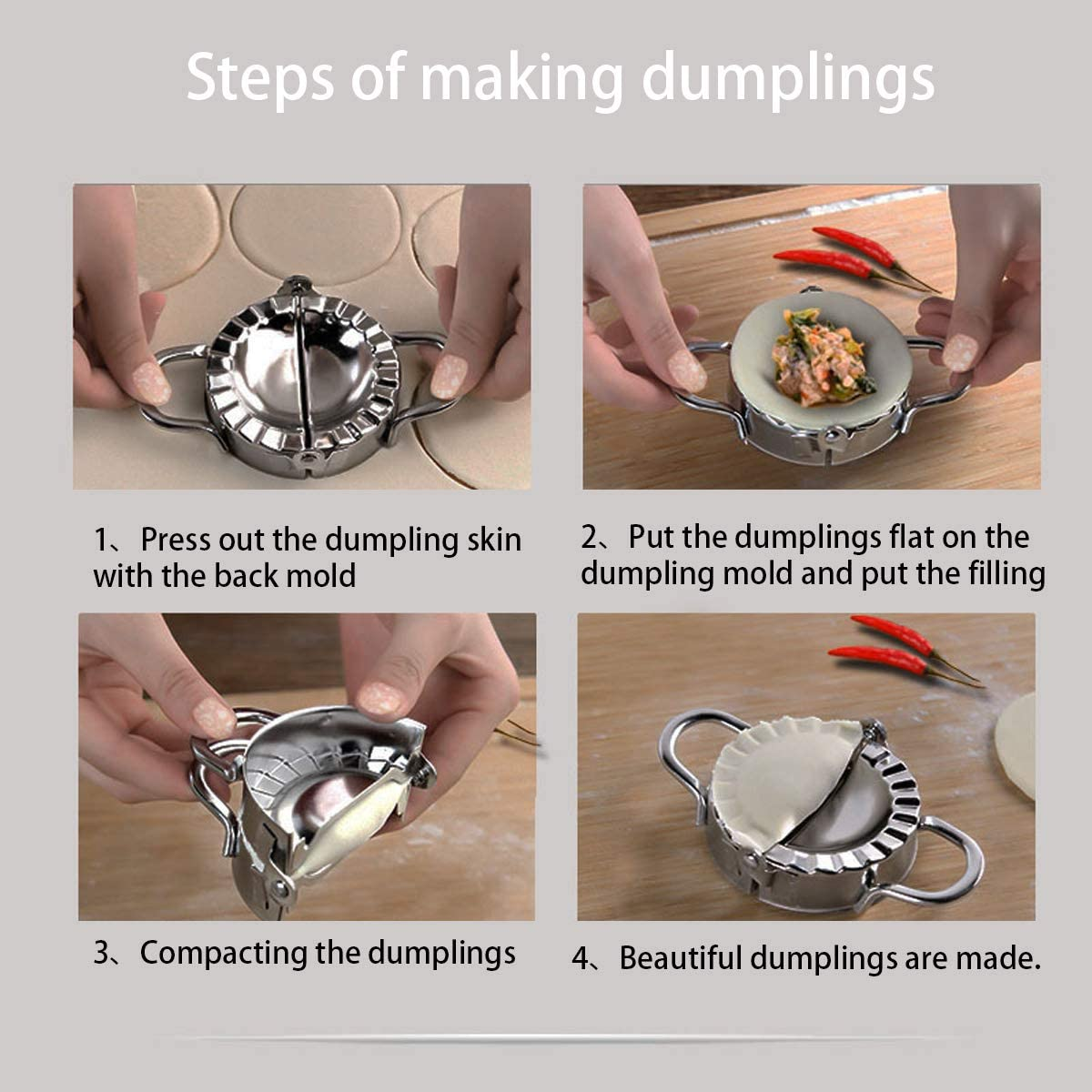 2 Pcs Stainless Steel Dumpling Maker,Multifunctional Kitchen Accessories Use as Dumpling Press,Pastry Dough Cutting Machine Set,Two Size 3.75 Inch and 3Inch