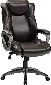 REFICCER Memory Foam Executive Office Chair, Adjustable Lumbar Support Tilt Angle Swivel PU High-Back Computer Task Desk Chair for Office Home