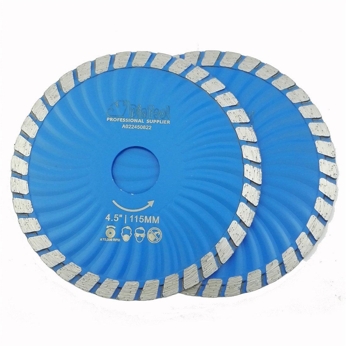 Disco de Diamante SHDIATOOL Diamante de hoja turbo ondulada Dia 4 Paquete de 1/2 pulgada de 2 Corte Hormigón Ladrillo Az