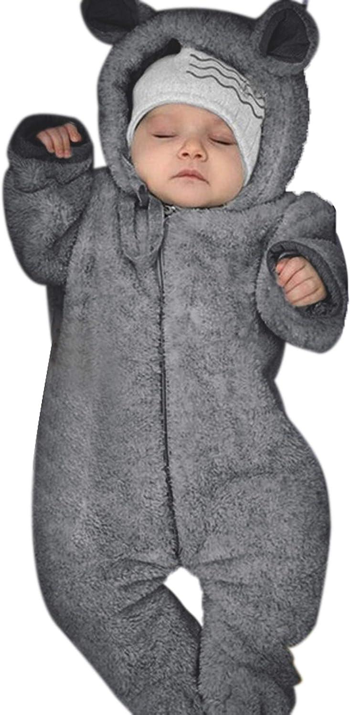 LPATTERN Newborn Infant Baby Boys Girls Flannel Fleece Romper Hooded Snowsuit Thick Warm Pramsuit Cartoon Jumpsuit Winter Onesies