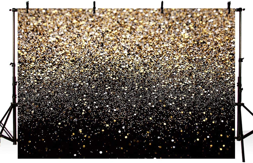 MEHOFOTO 7x5ft Gold Glitter Sequin Spot Black Prom Backdrops Starry Sky Shining Abstract Photo Background Birthday Party Banner Wedding Kids Newborn Photography Studio Props