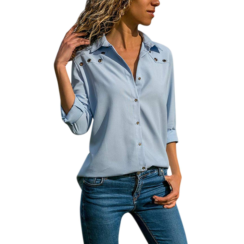 StarTreene Women Casual Polo T-Shirt V Neck Long Sleeve Tunic Blouse Tops