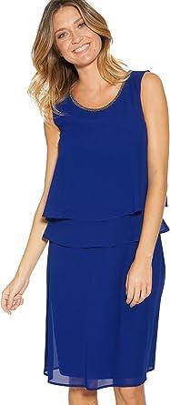 Balsamik Robe Sans Manches Effet 2 En 1 Femme Taille 56 Couleur Bleu Amazon Fr Vetements Et Accessoires