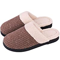 Snug Leaves Cozy Niche Women's Cozy Yarn Knitted Slippers Memory Foam Plush Lining Slip-on Indoor/Outdoor House Shoes w/Anti-Skid Rubber Sole