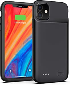 OMEETIE Battery Case for iPhone 11, 5000mAh Portable Protective Charger Case Rechargeable Extended Battery Pack Charging Case Compatible with iPhone 11 (6.1 inch) (Black)