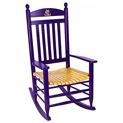 LSU Tigers Painted Wood Rocking Chair In Purple And Gold
