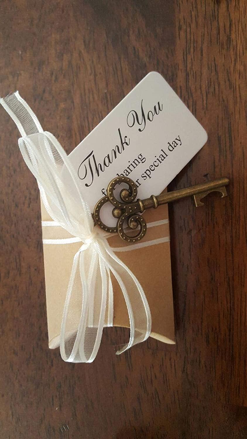 for Event and Wedding Party Favors for Guests Joy-Leo 3 Inch Rustic Vintage Bulk Skeleton Keys Bottle Opener with Kraft Paper Escort Card Tag /& Pillow Candy Box /& Vintage Jute Twine 24 Pack