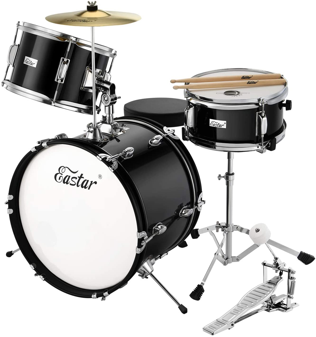EDS-350R Pedal /& Drumsticks Metallic Red Eastar 16 inch Junior Drum Set Kids Drum Set 5-Piece with Adjustable Throne and Cymbal