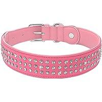 Tactfulw Strass hundhalsband justerbar kristall diamant läderhalsband för stora hundar husdjurstillbehör…