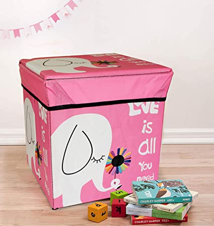 TIED RIBBONS Storage Box Toys Under Bed Plastic Stool for Kids Room Under Lid Padded Seat (30 cm X 28.5 cm X 28.5 cm, Multicolor)