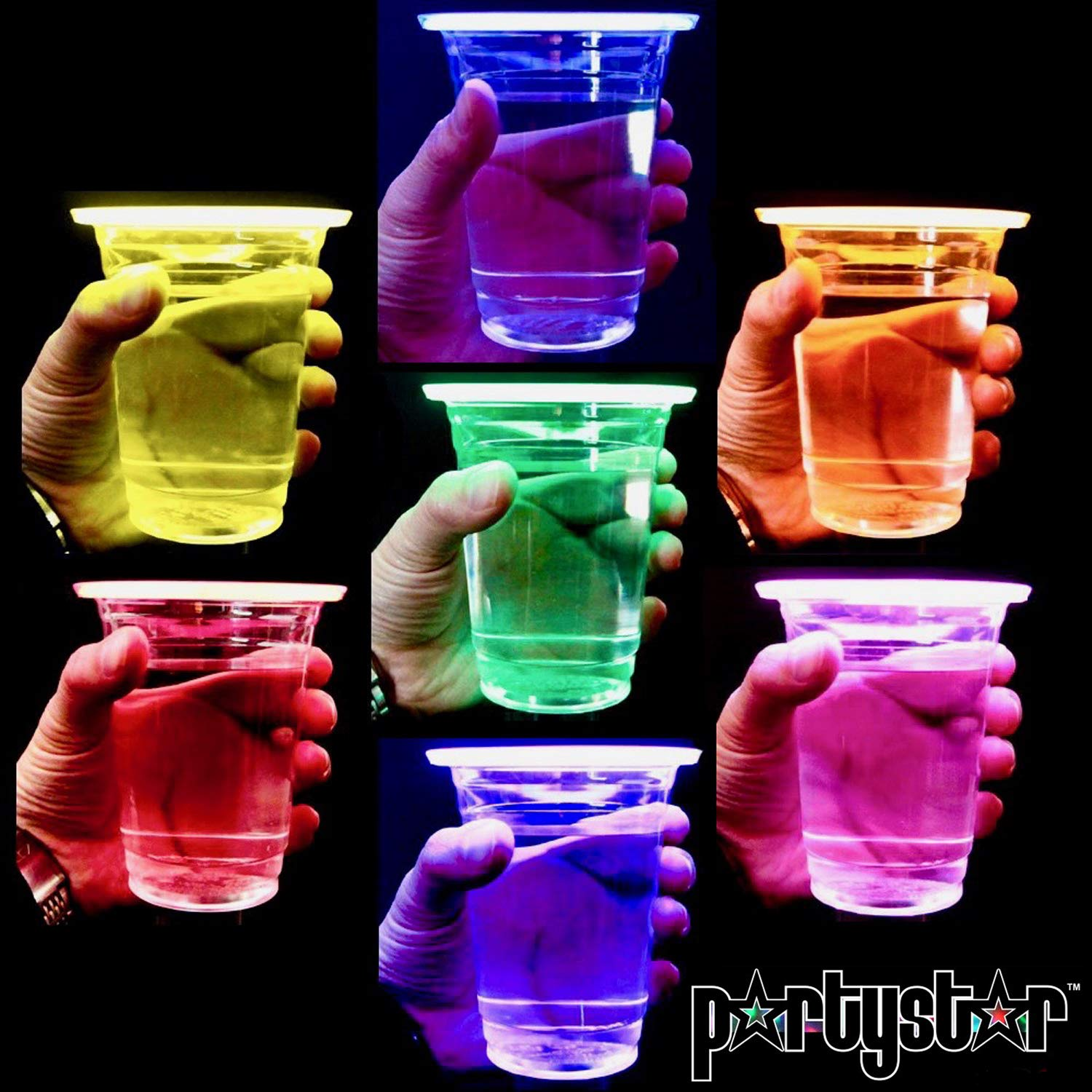 PartyStar 16oz Glowing Party Cups for Indoor Outdoor Party Event Fun, Multi-Color Variety Pack with 7 Bright Glow-In-The-Dark Colors for House Parties Birthdays Concerts Weddings BBQ Beach DJ Holidays