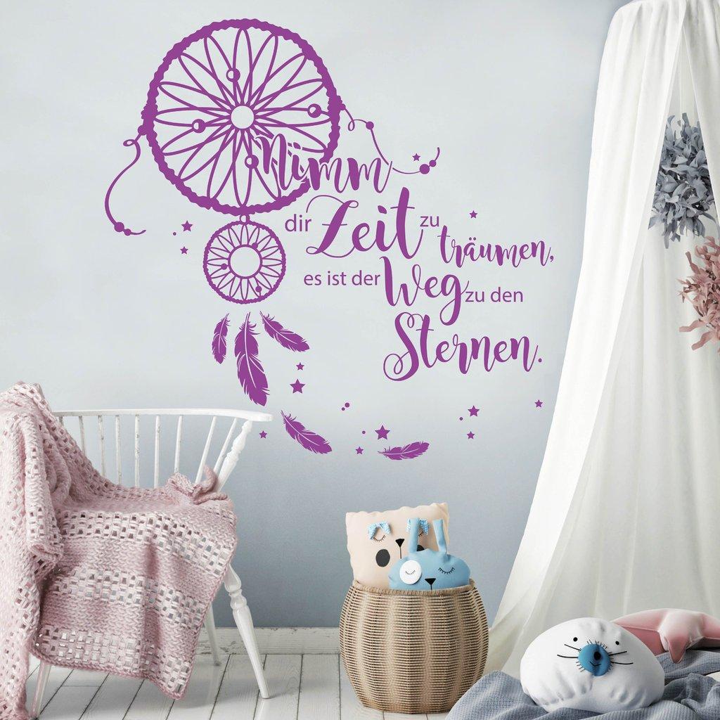 Wandtattoo Schriftzug Nimm dir Zeit zu träumen, träumen, träumen, es ist der Weg zu den Sternen. Traumfänger transparent   90 cm hoch x 91 cm breit B078D6QZG8 Wandtattoos & Wandbilder 237262