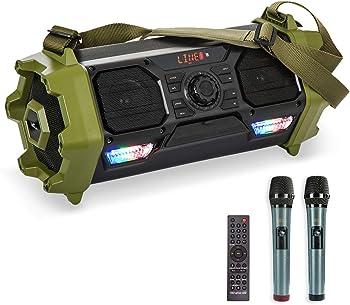 VeGue Portable Bluetooth Karaoke Speaker with 2 Wireless Mics