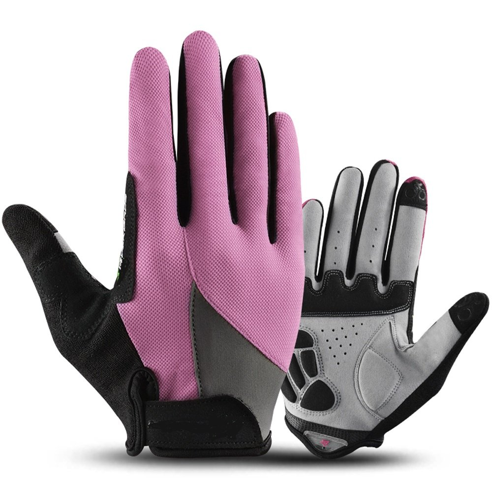 YZFGY Riding Gloves All Refers to The Sunscreen Outdoor Sports Touch Screen Climbing Bike Gloves Long Finger Men and Women Spring and Summer Sport Gloves (Color : Pink) by YZFGY
