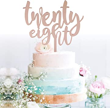 Remarkable Amazon Com Grantparty Twenty Eight Rose Gold Cake Topper 28Th Birthday Cards Printable Inklcafe Filternl