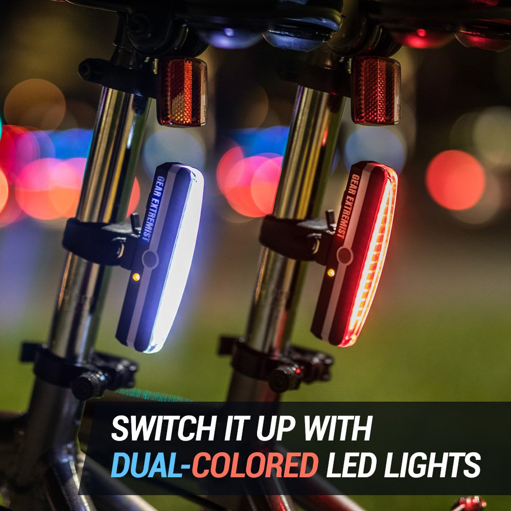 Gear Extremist Bicycle LED Tail Light Rear Rechargeable USB Ultra Bright Bike