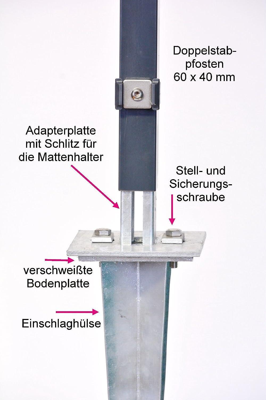 Verstellbare Einschlaghulse 50 Cm Doppelstabmattenzaun Fur Pfosten