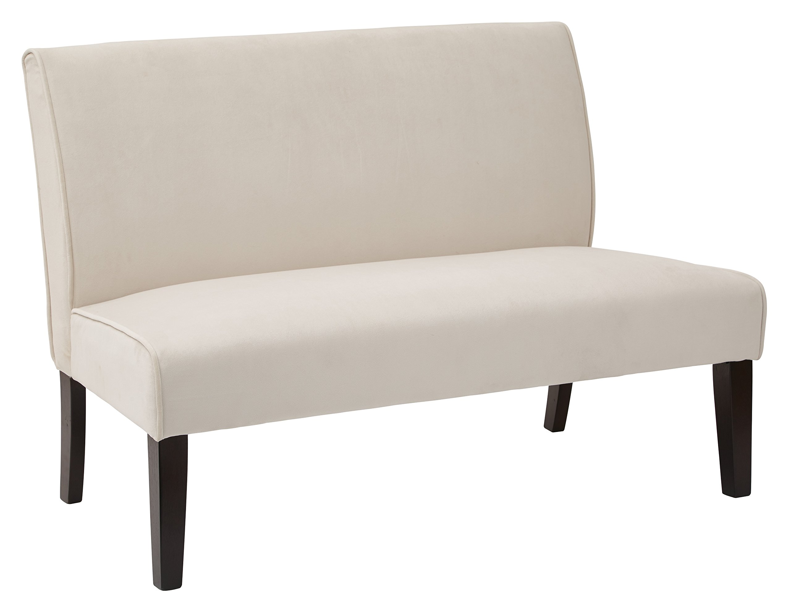 AVE SIX Laguna Loveseat with Espresso Finish Solid Wood Legs, Oyster Velvet Fabric