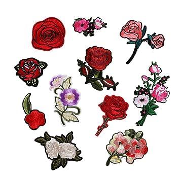 11StkStickerei rose blume nähen eisenauf flecken abzeichen tasche kleid applique