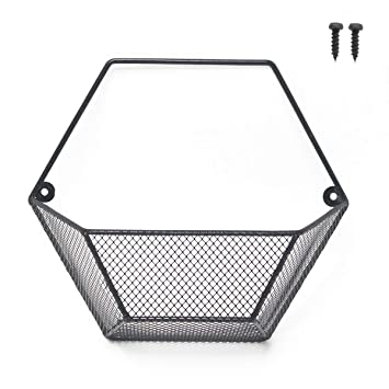 Amazon Com Cevillo Wall Mounted Wire Basket Black Metal Hanging