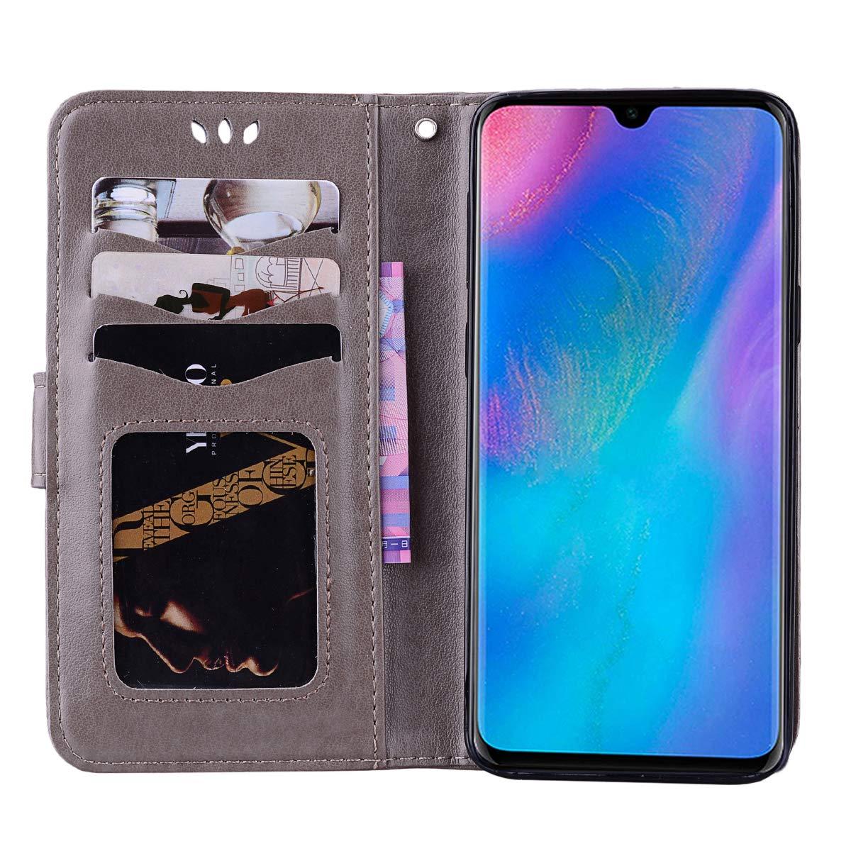 Folio Souple TPU Bumper de Protection Mince Pochette Etui Housse en Cuir PU /à Rabat pour Huawei P30 Lite Bleu DENDICO Coque Huawei P30 Lite
