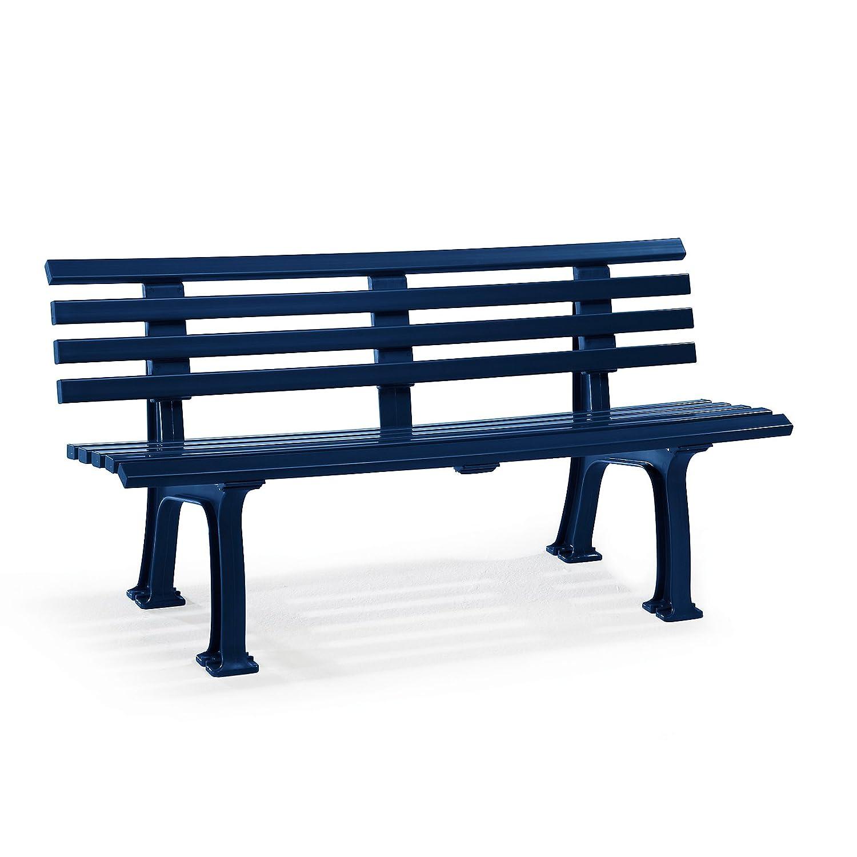 Parkbank aus Kunststoff - mit 9 Leisten - Breite 1500 mm, stahlblau - Sitzbank Gartenbank Ruhebank Bank für Außenbereich UV- und witterungsBesteändig PVC Bank