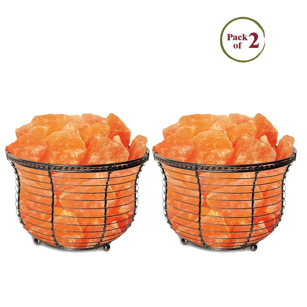 Himalayan Glow 1301BB Basket Salt Lamp 8-10 pounds Each, 2 Piece