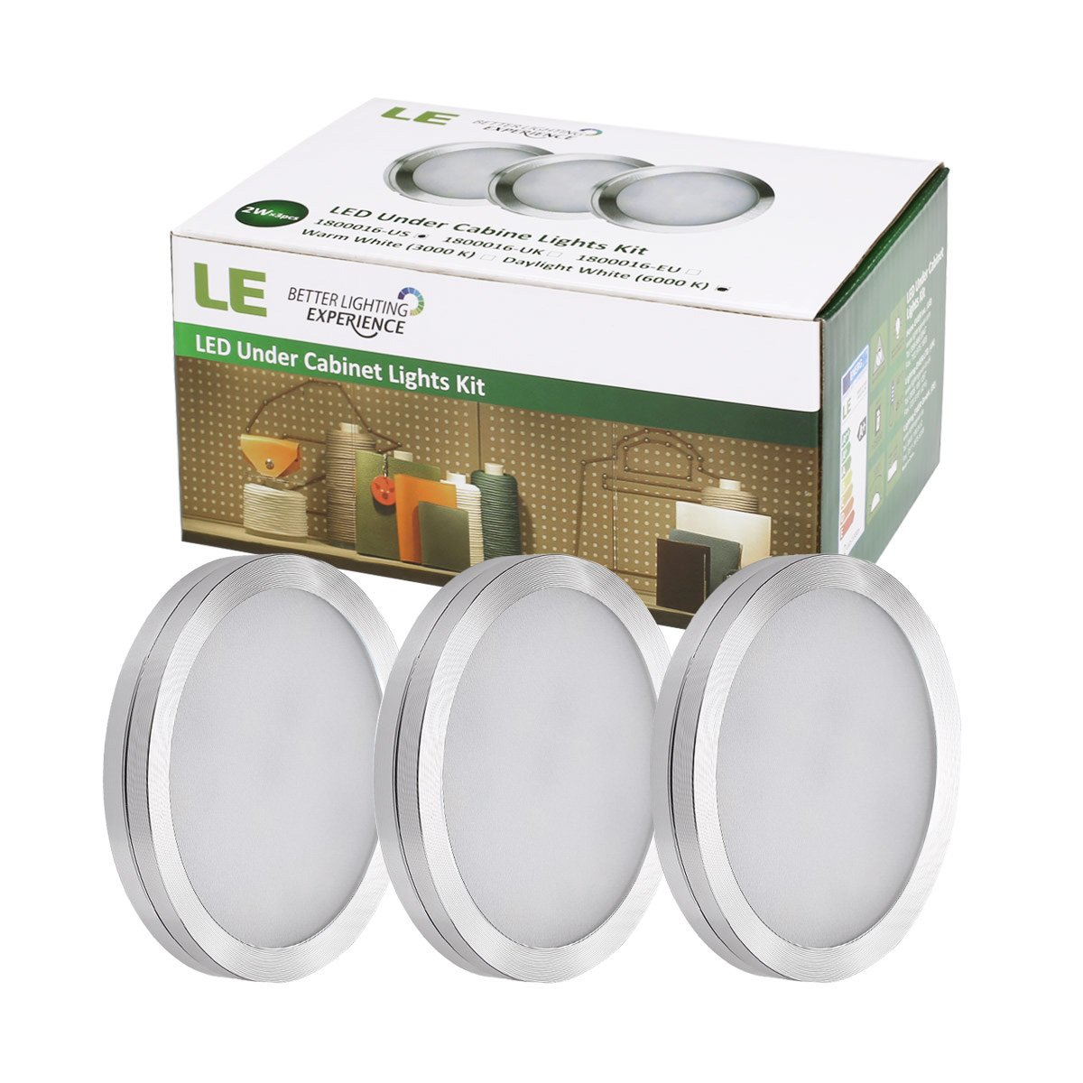 Kitchen under cabinet led lighting kits - Le Led Under Cabinet Lighting Kit 1020lm Puck Lights 2700k Warm White All Accessories Included Kitchen Closet Lights Set Of 3 Amazon Com
