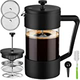 Veken French Press Coffee & Tea Maker 34oz, Thickened Borosilicate Glass Coffee Press with 3 Filter Screens, Rust-Free…
