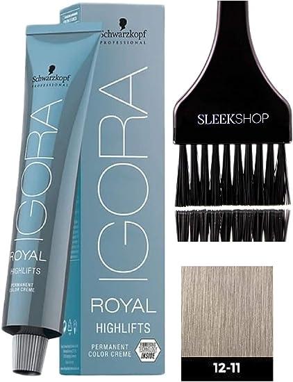 Schwarzkopf Igora Royal Highlifts permanente del pelo color crema (Con elegante Tinte cepillo del aplicador) Crema Color de pelo (12-11 Especial Rubio ...