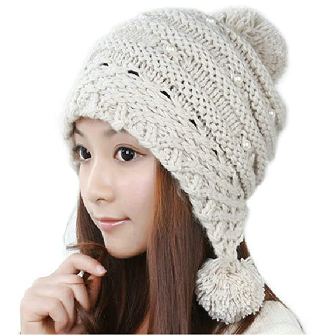 Joyci Christmas Girls Pearl Knit Pom Pom Hat Ear Flap Beanie Ski Warm  (Beige) 4536422fd93