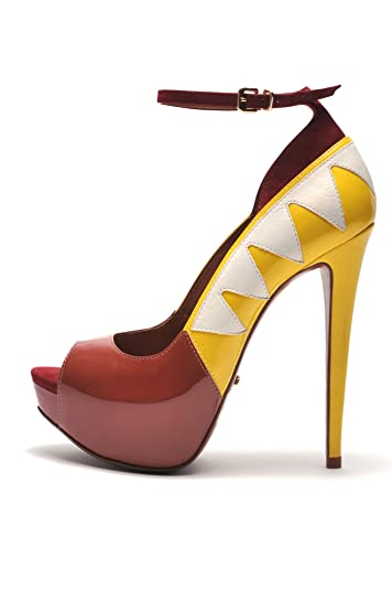 SCHUTZ Women s Star Peep Toe Unique Flame Platform Ankle Strap Pumps (7.5 db50329b9f