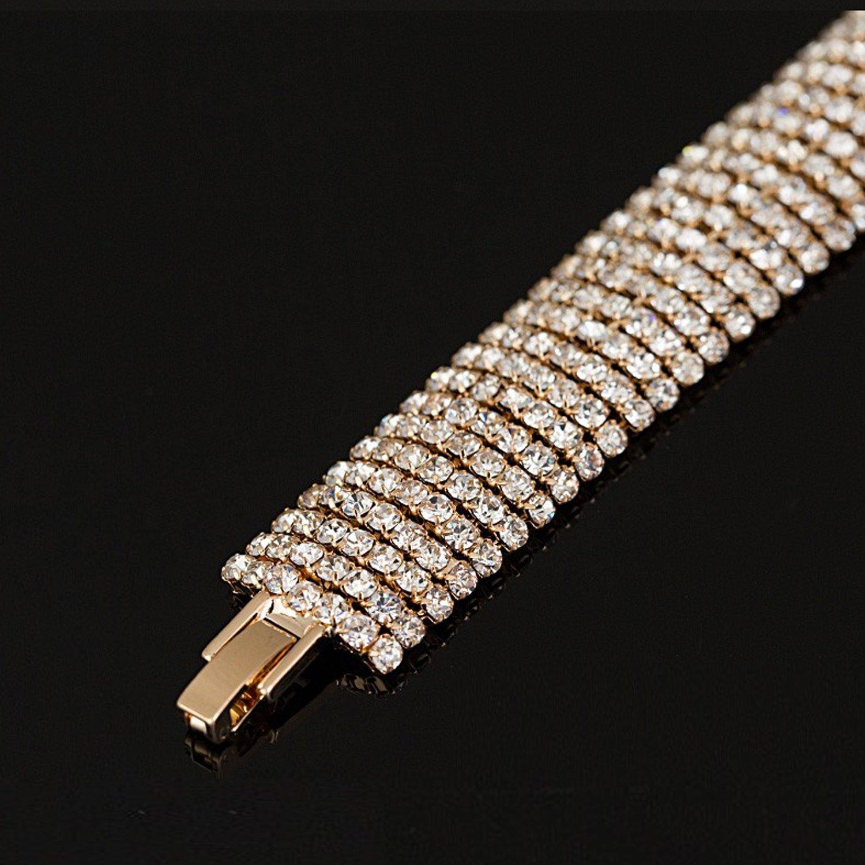Crystal 6 Row Rhinestone Tennis Bracelet w/ Toggle Clasp - Silver Plated by Foxy Lady Jewelry (Image #6)