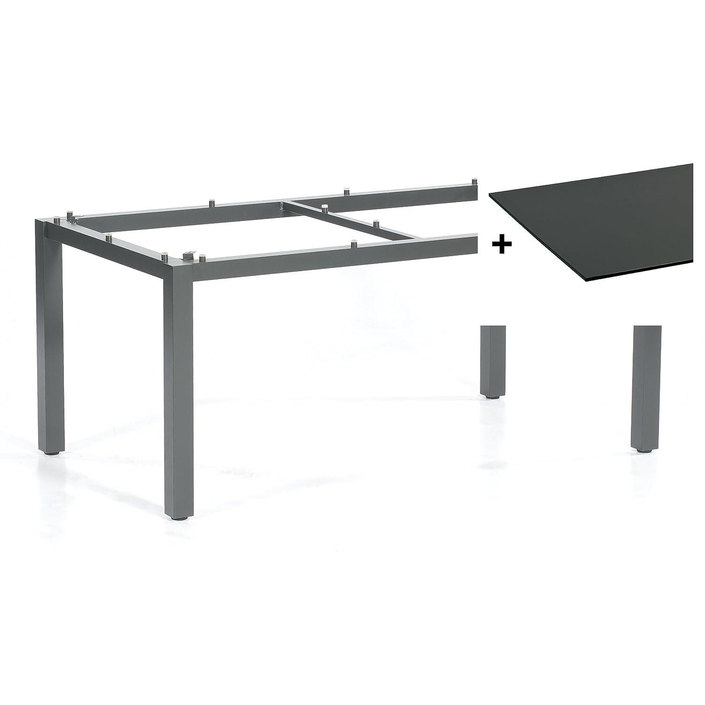 Sonnenpartner Tisch Base Gestell Alu anthrazit Platte HPL anthrazit 160 x 90 cm